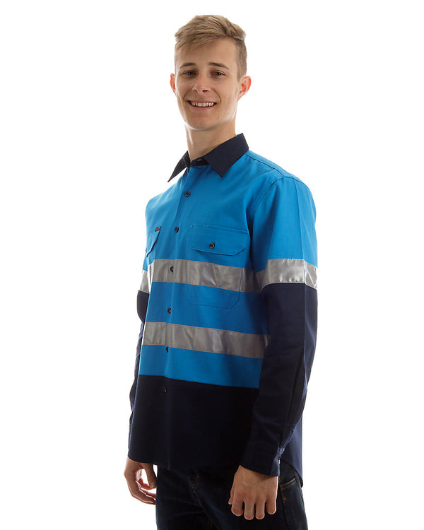 Open front long sleeve shirt with 3M reflective tape - Blue/Navy