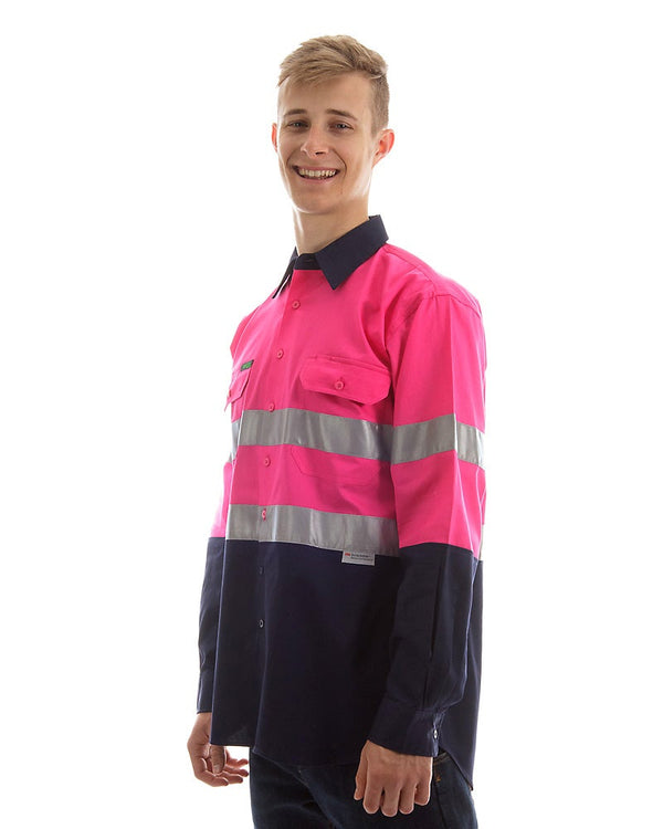 Hi Vis Taped Lightweight Cotton Shirt LS (3 Pack) - Pink/Navy