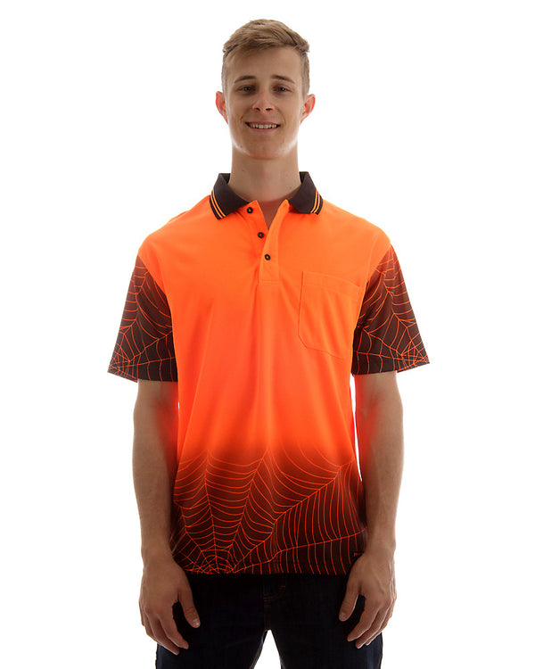 Hi Vis Spider Web Short Sleeve Shirt - Orange/Black