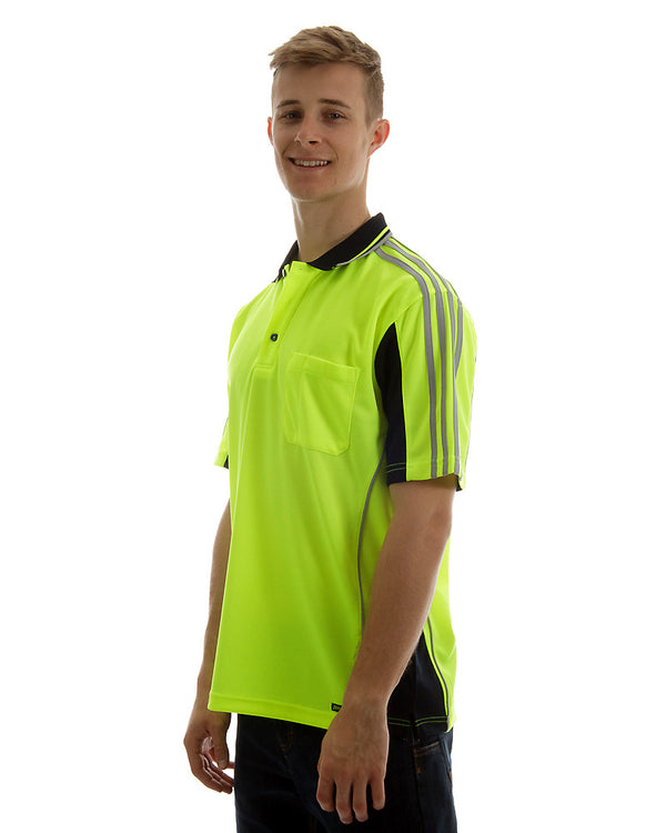 Hi Vis Short SleeveArm Tape Shirt - Lime/Navy
