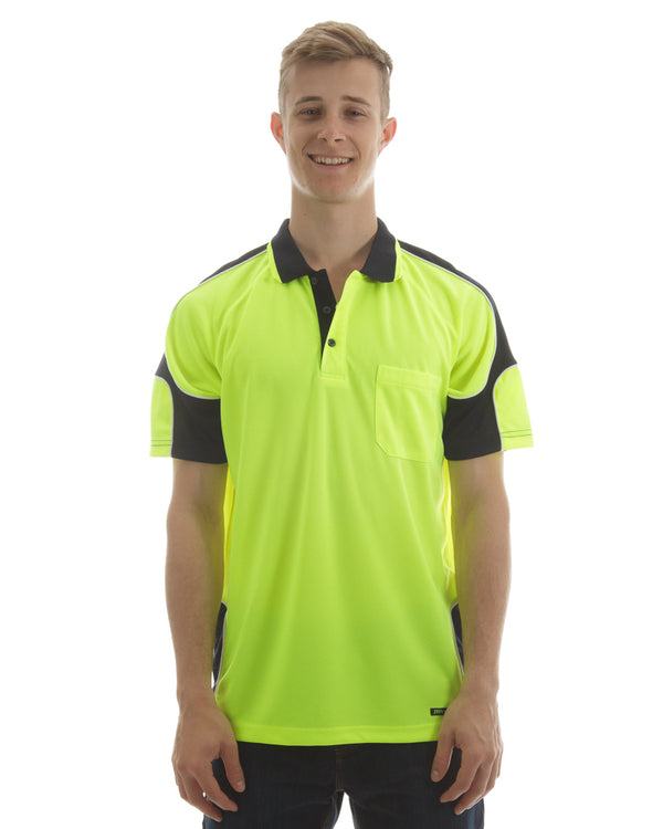Hi Vis Short Sleeve Arm Panel Polo Shirt - Lime/Navy