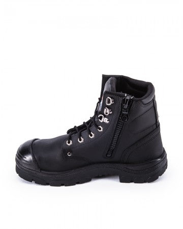 Argyle Lace Up Boot with Zip and Bump Cap - Black