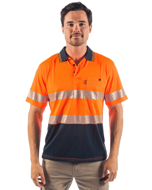 Hi Vis Segment Taped SS Polo - Orange/Navy