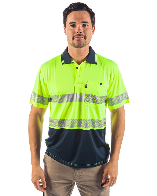 Hi Vis Segment Taped SS Polo - Yellow/Navy