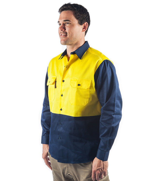 Patron Saint  Flame Retardant Two Tone Drill Shirt - L/S - Yellow/Navy