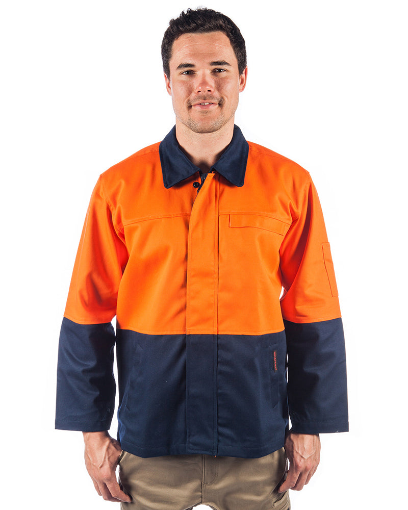 Patron Saint Flame Retardant Two Tone Drill Welders Jacket - Orange/Navy