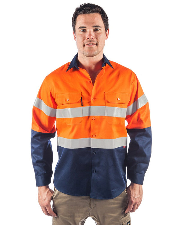 Flame Retardant 2 Tone Cotton Shirt with 3M Tape L/S - Orange/Navy