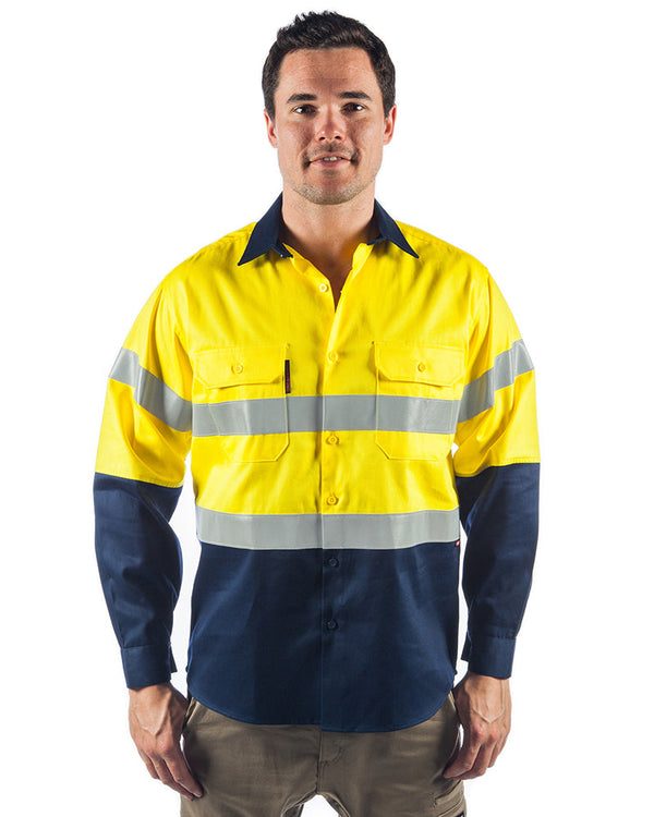 Flame Retardant 2 Tone Cotton Shirt with 3M Tape L/S - Yellow/Navy