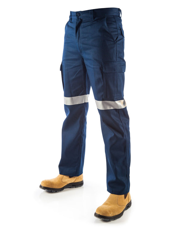 Cotton Drill Cargo Pants With 3M R/Tape - Navy