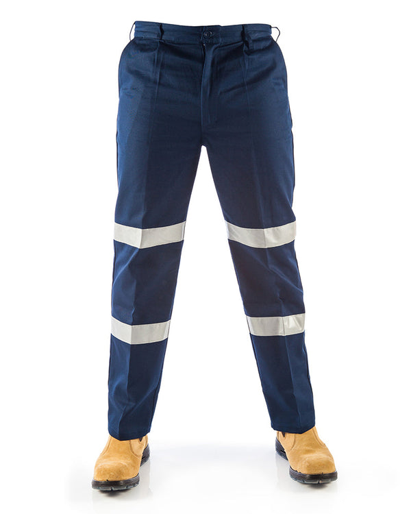 Middle Weight Double hoops Taped Pants - Navy