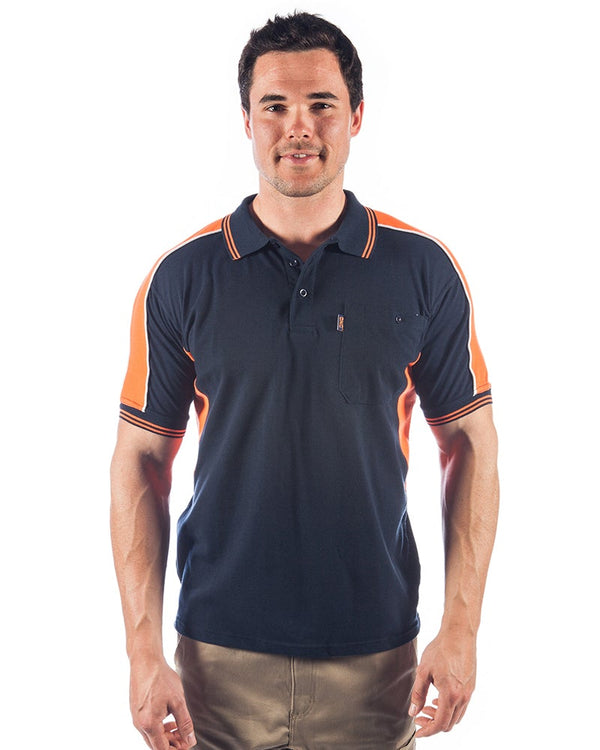Polyester Cotton Panel Polo Shirt Short Sleeve - Navy/Orange
