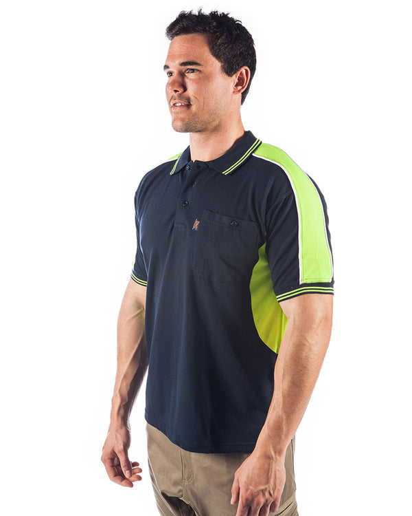 Polyester Cotton Panel Polo Shirt Short Sleeve - Navy/Yellow