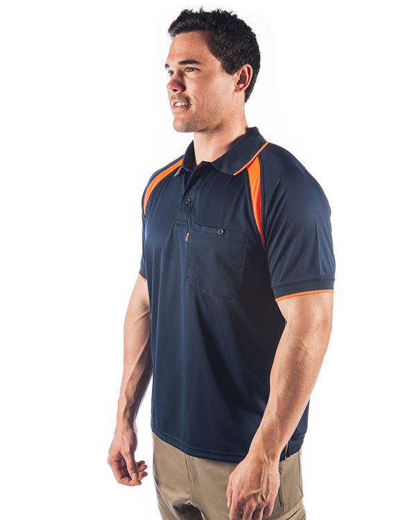 Coolbreathe Contrast Polo - Short Sleeve - Navy/Orange