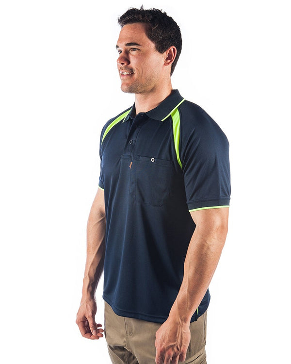 Coolbreathe Contrast Polo - Short Sleeve - Navy/Yellow