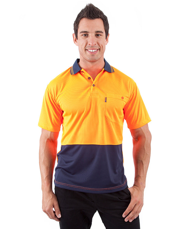HiVis Cool Breathe Polo Shirt SS - Orange/Navy