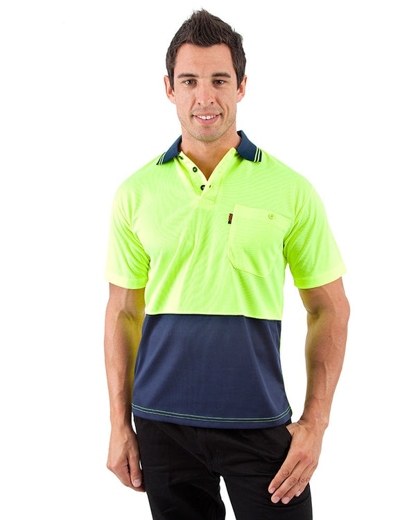 HiVis Cool Breathe Polo Shirt SS - Yellow/Navy