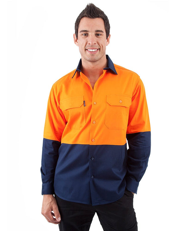 HiVis Cool Breeze Cotton Drill Shirt LS - Orange/Navy
