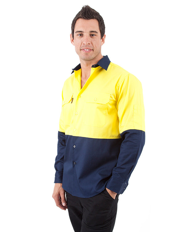 HiVis Cool Breeze Cotton Drill Shirt LS - Yellow/Navy