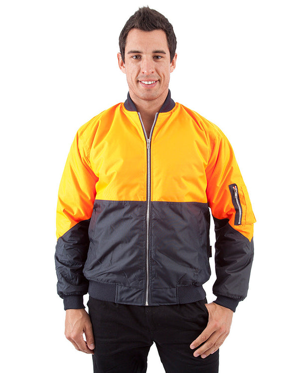 Two Tone Flying Jacket - Orange/Navy