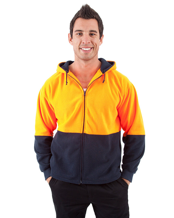 Full Zip Polar Fleece Hoodie - Orange/Navy