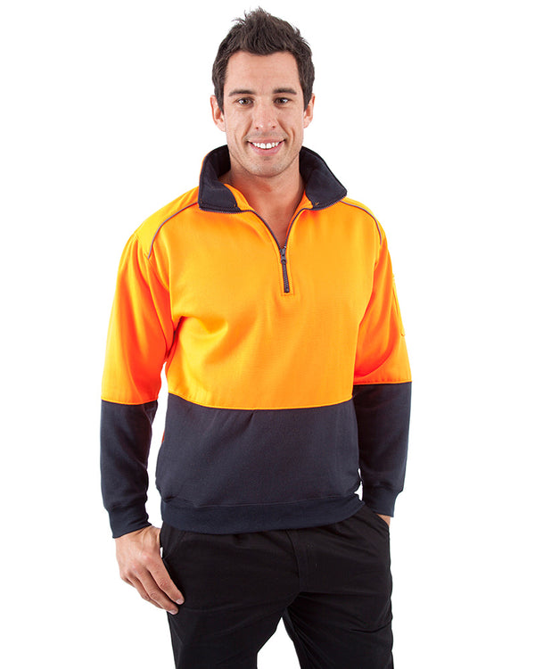 Half Zip Sweat Shirt LS - Orange/Navy