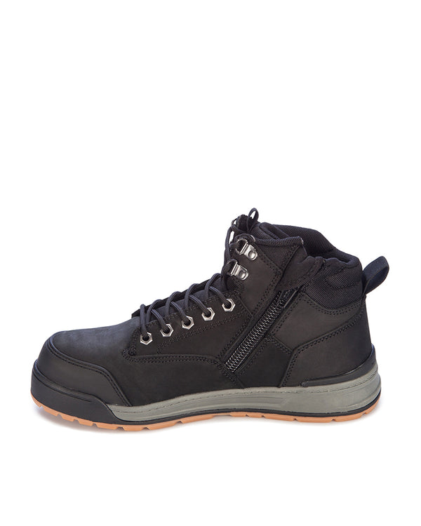 3056 Lace Zip Safety Boot - Black