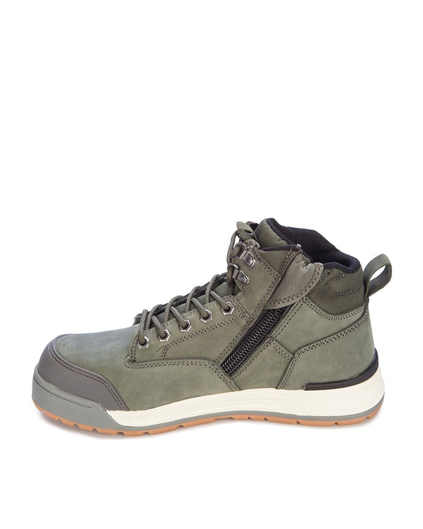 3056 Lace Zip Safety Boot - Olive