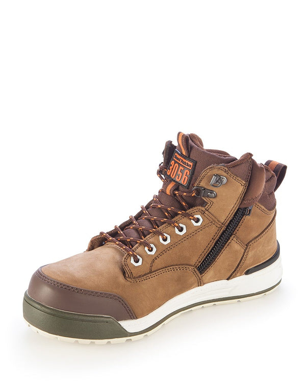3056 Lace Zip Safety Boot - Oak