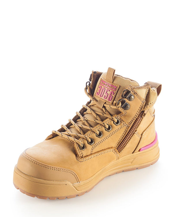 Womens 3056 Zip Side Safety Boot - Wheat