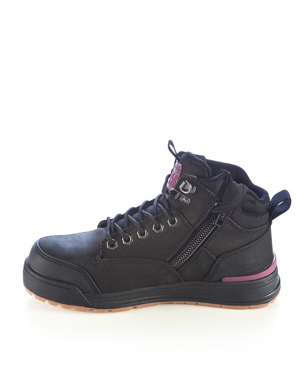 Womens 3056 Zip Side Safety Boot - Black