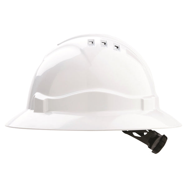 Vented Hard Hat Full Brim - White