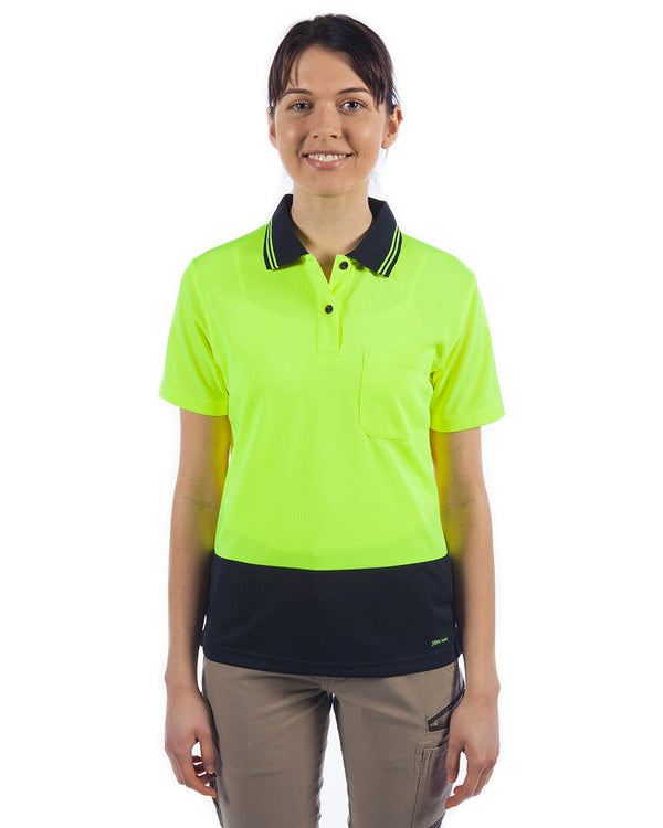 Ladies Hi Vis SS Polo - Lime/Navy