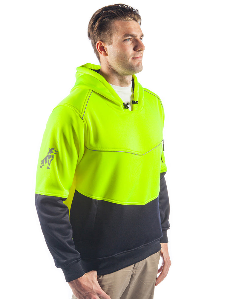Xenon Hi Vis Fleece Hoodie - Yellow/Navy