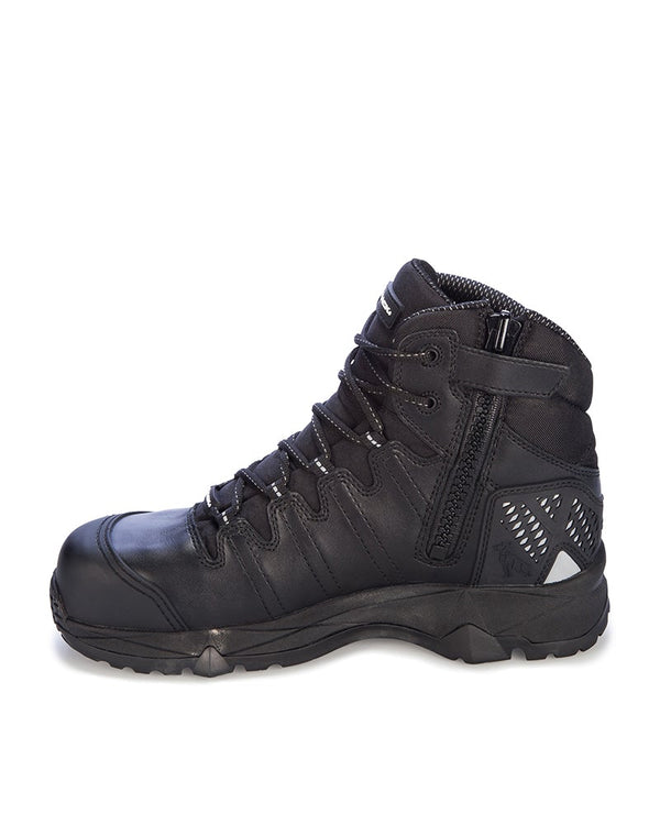 Octane Lace Up Safety Boot with Zip - Black