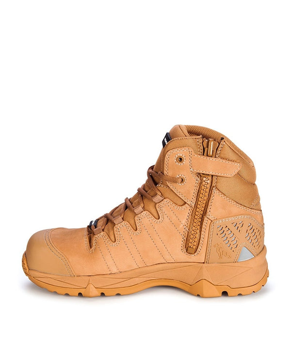 Octane Lace Up Safety Boot with Zip - Honey