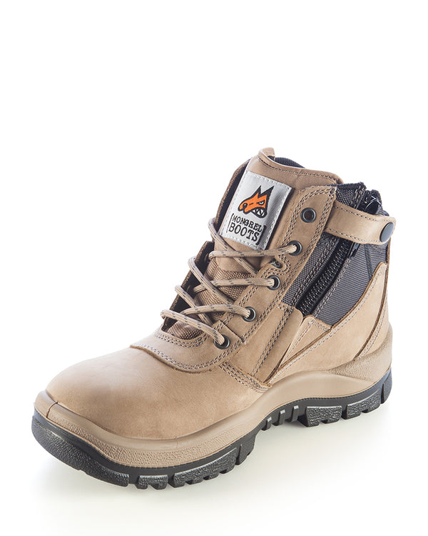 Stone Zip Side Safety Boot - Stone