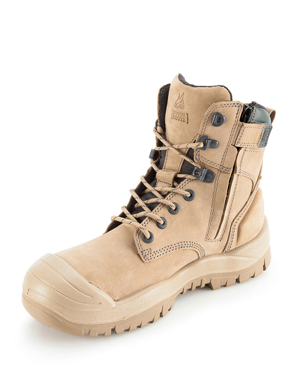 Stone Hi Leg Rubber Zip Side Safety Boot - Stone