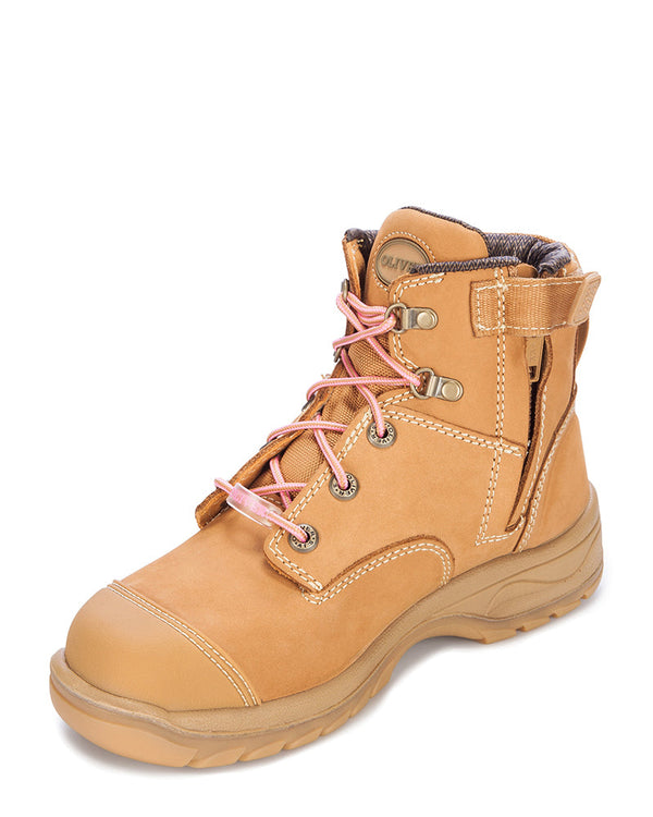 Ladies Zip Side Ankle Boot - Wheat