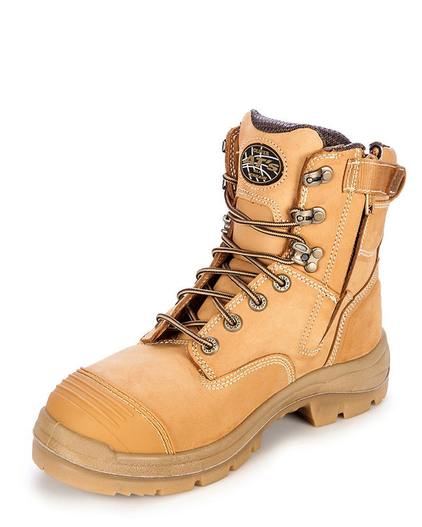 AT 55332Z Lace Up Zip Side Boot - Wheat