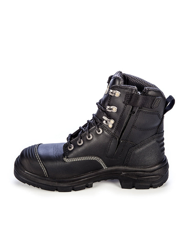 AT 55345Z Zip Side Lace Up Boot - Black