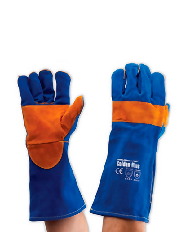 Blue Heeler Welders Gloves - Blue/Gold