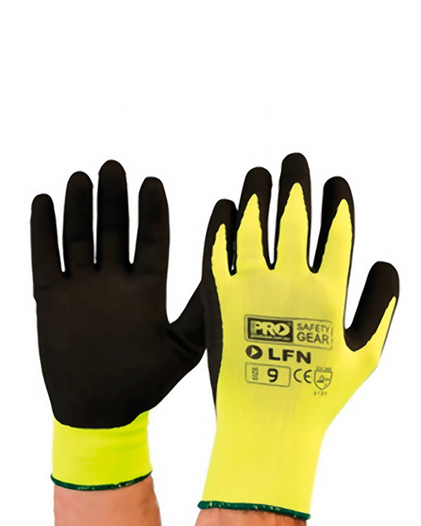 Latex Foam on Hi-Vis Glove - Black/Yellow
