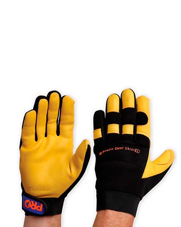Pro-Fit Deer Skin Leather Glove - Black/Yellow