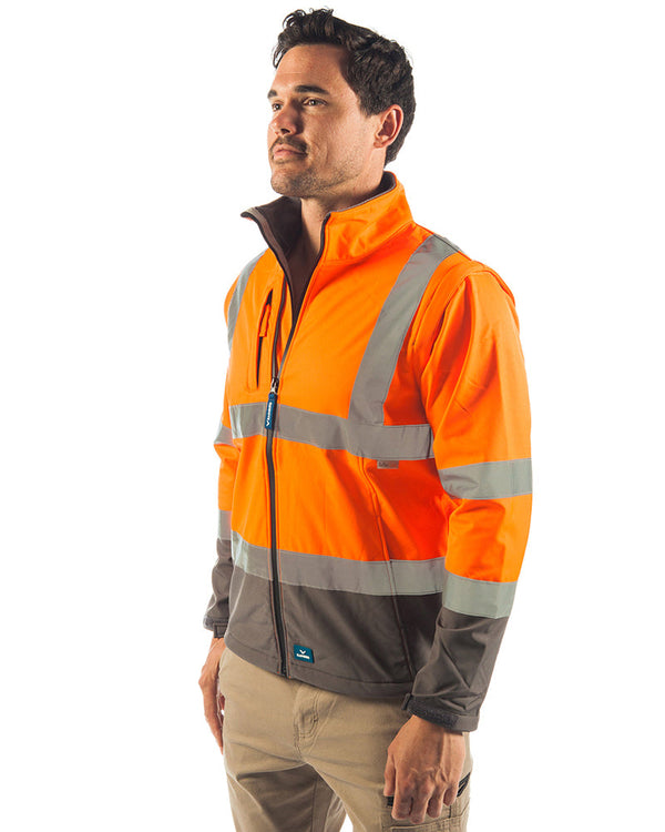 Landy Softshell Hi Vis Jacket - Orange/Charcoal