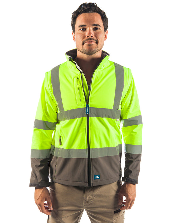 Landy Softshell Hi Vis Jacket - Yellow/Charcoal