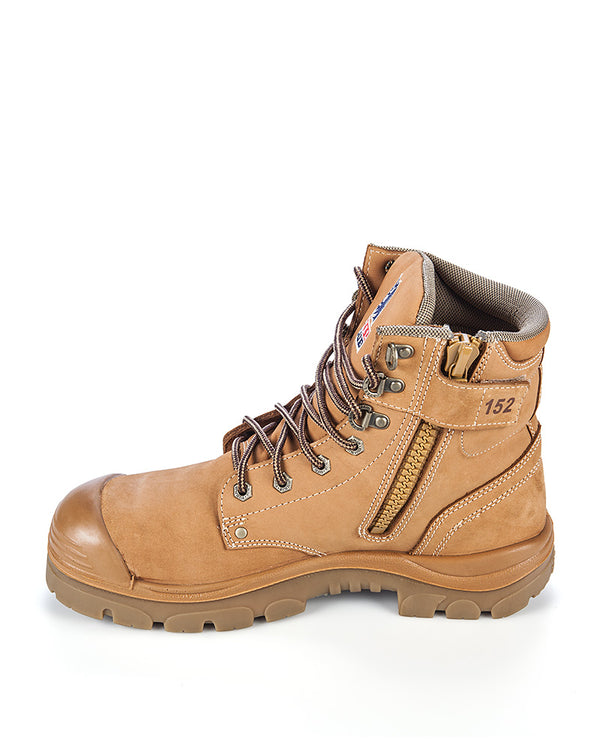Argyle Lace Up Boot with Zip and Bump Cap - Wheat