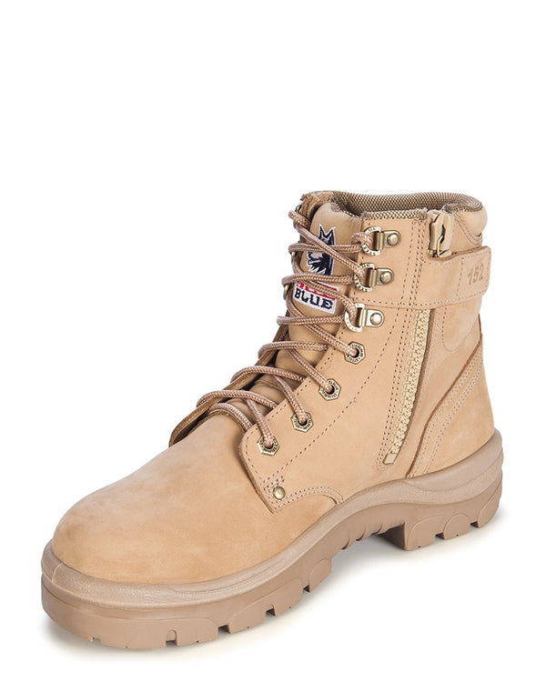 Argyle Lace Up Ankle Boot with Zip - Sand