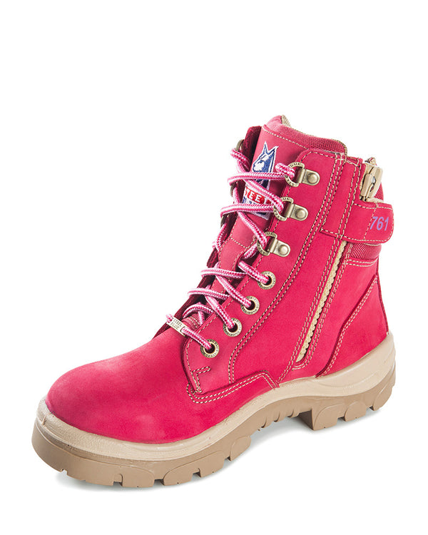 Southern Cross Lace Up Ankle Boot with Zip Pink - Pink