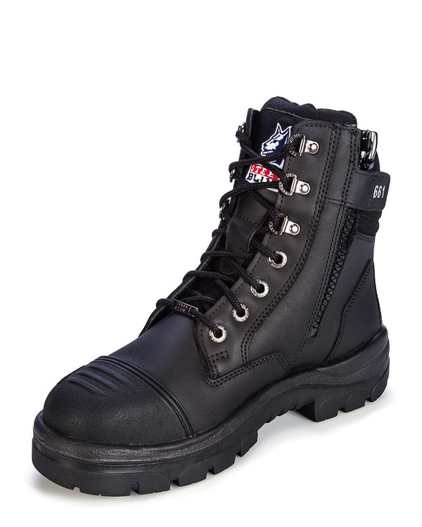 Southern Cross Zip Side Safety Boot - Black