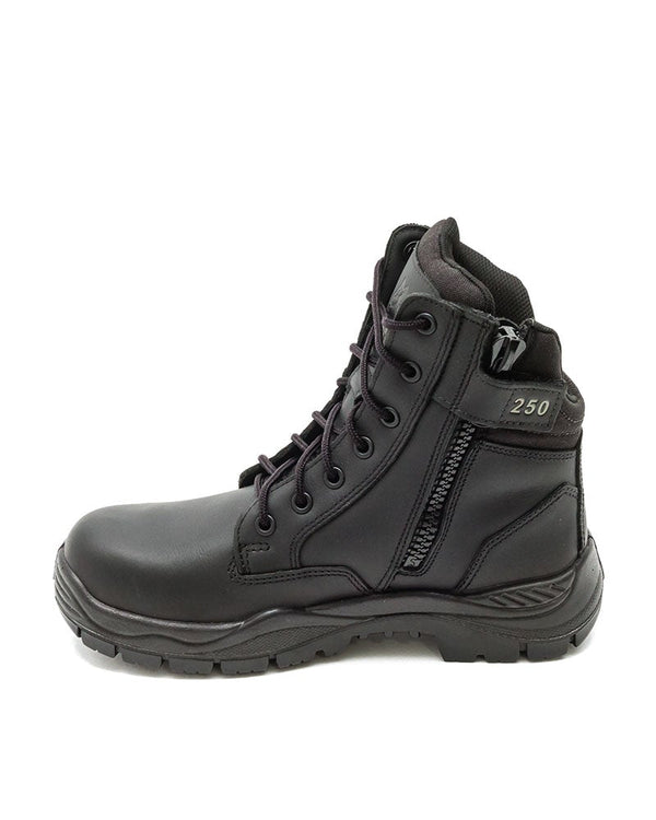 Enforcer Lace Up Zip Sided 150mm Boot - Black